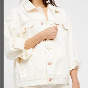 NWT  Free People denim worn white jacket. Size M/L